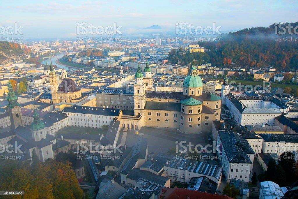 Salzburg from above hohensalzburg at sunrise, Austria stock photo