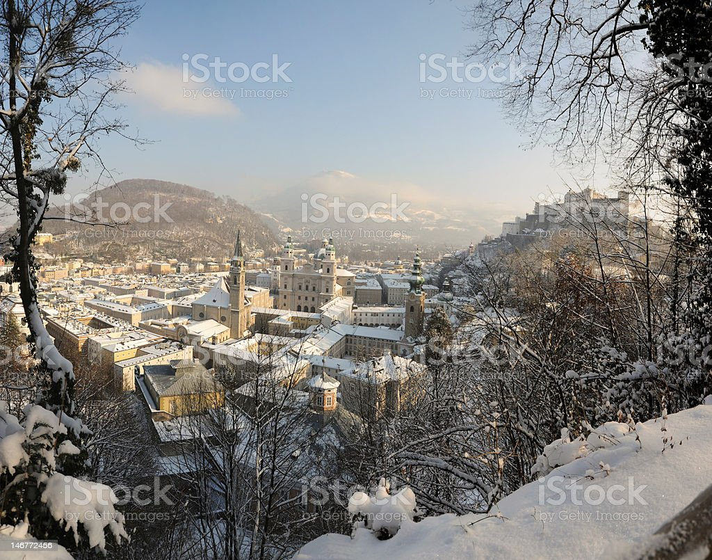 Salzburg in winter stock photo