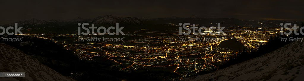 Salzburg Panorama - night stock photo