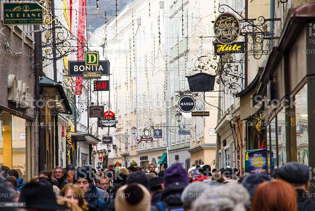 Salzburg Rathausplatz Mass Tourism stock photo