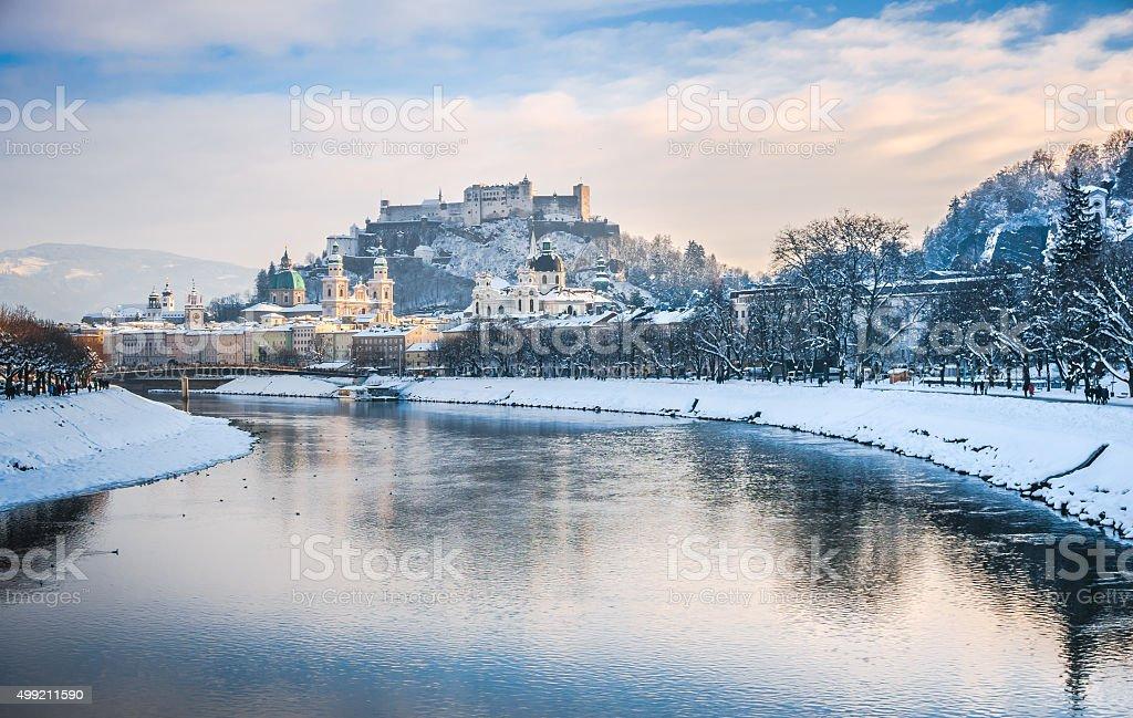 Salzburg skyline with Fortress Hohensalzburg in winter, Austria stock photo