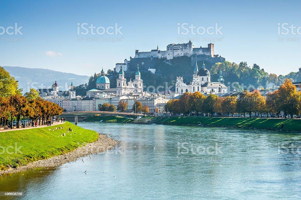 Salzburg skyline with Fortress in summer, Salzburger Land, Austria stock photo