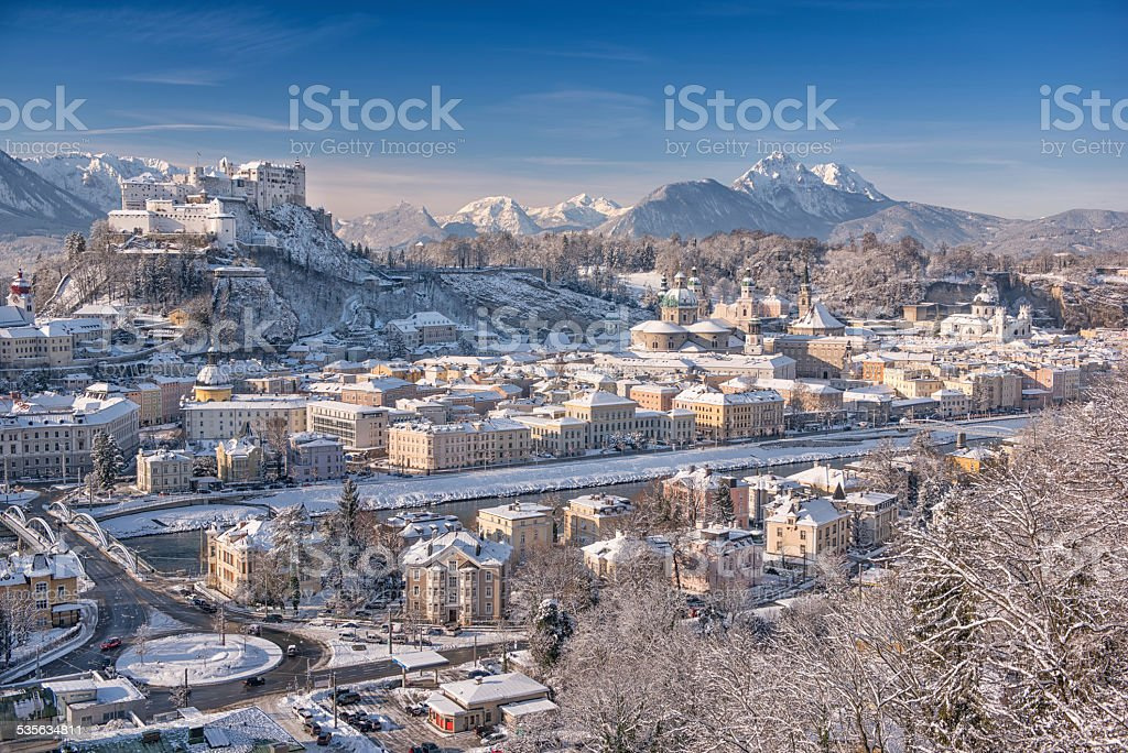 Salzburg with Hohensalzburg covered in Snow stock photo