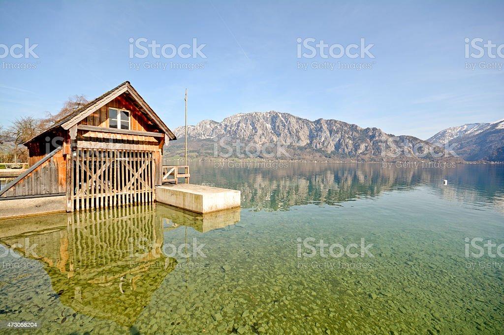 Salzburger Land Austria: View over lake Attersee - Austrian Alps stock photo