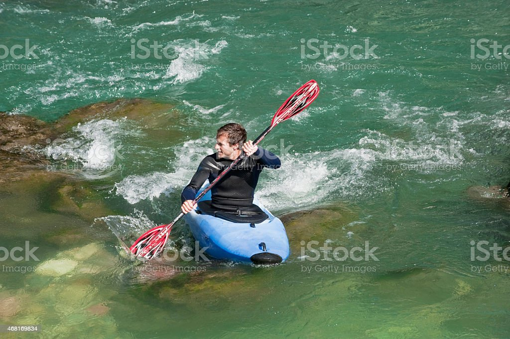 Salzburger Land, Man kayaking in lammer river stock photo