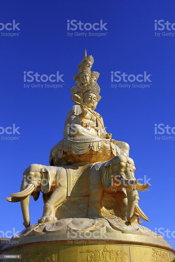 Samantabhadra statue with blue sky stock photo