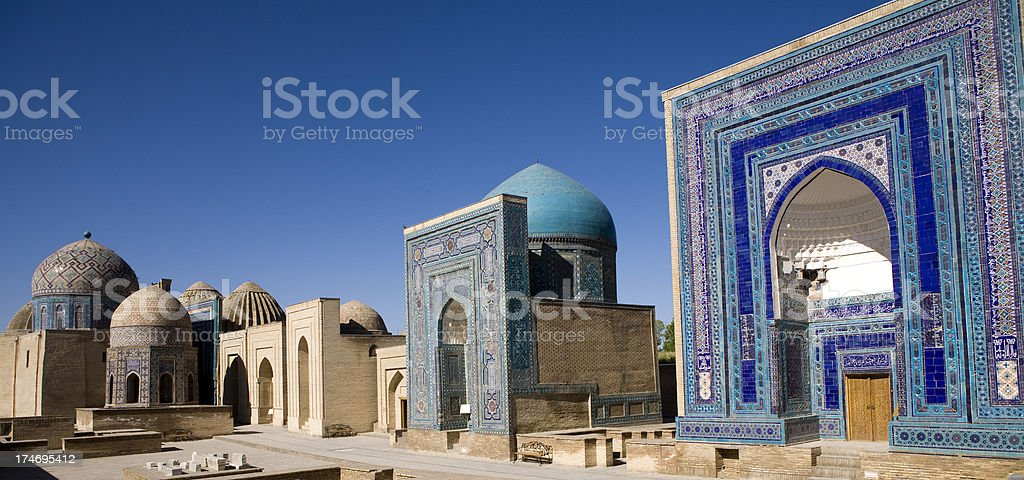Samarkand, The avenue of tombs-Shahr-I-Zindah stock photo