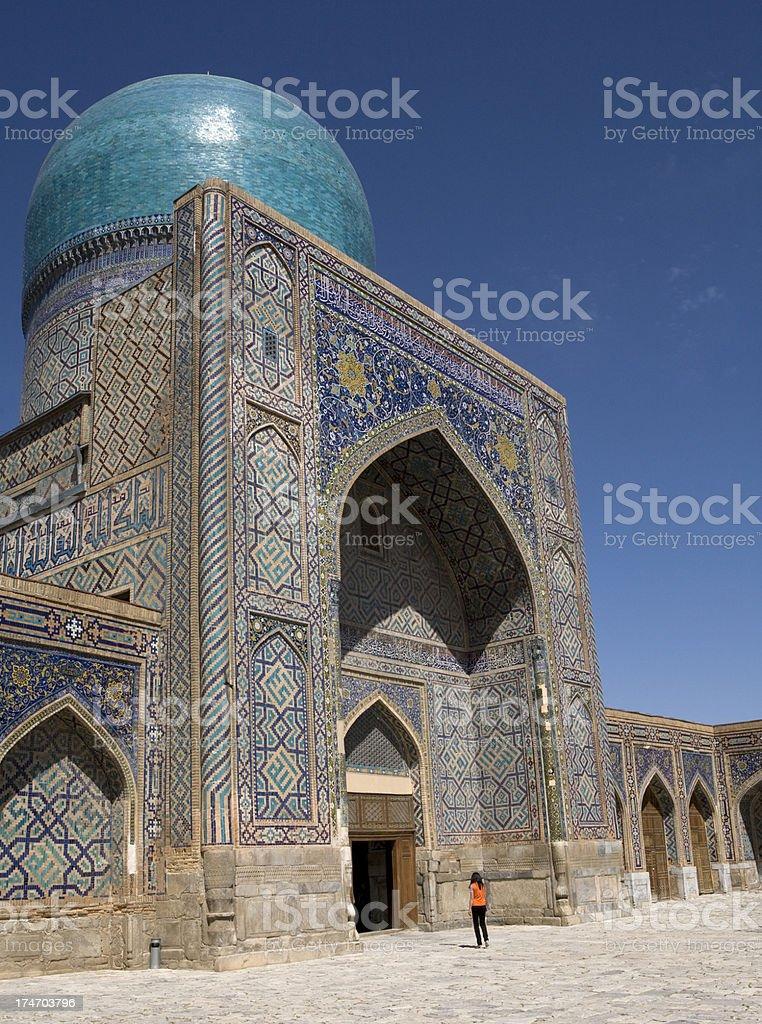 Samarkand The Registan,inside Sher Dor Medressa royalty-free stock photo