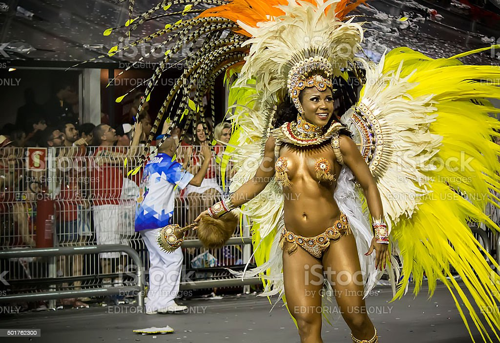 Samba Dancer at Brazil Carnival stock photo
