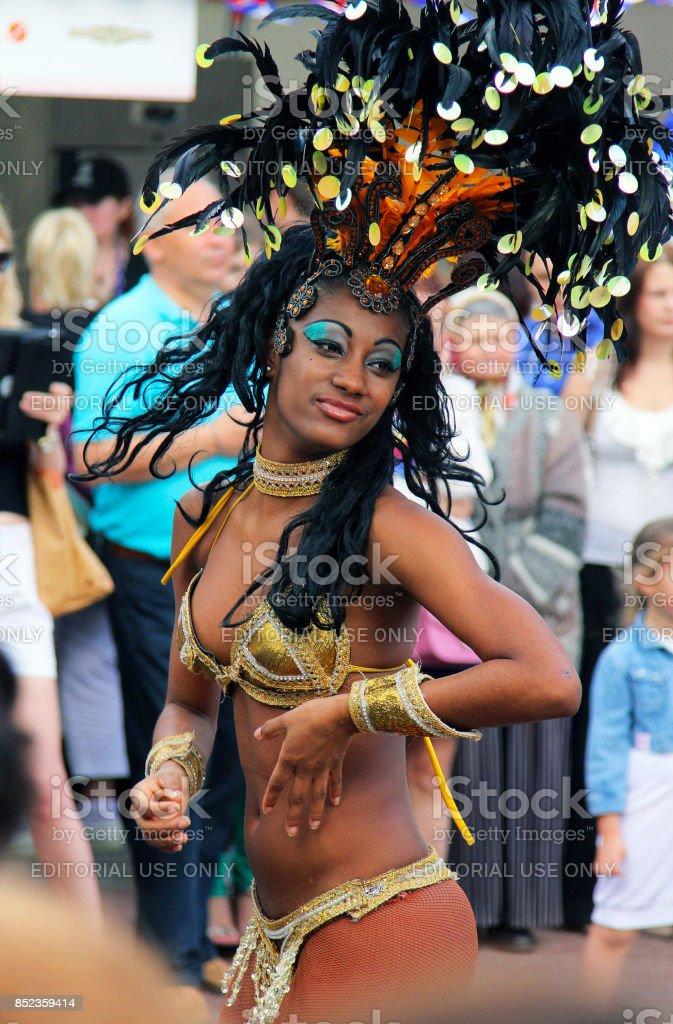 Samba dancer at the festival stock photo
