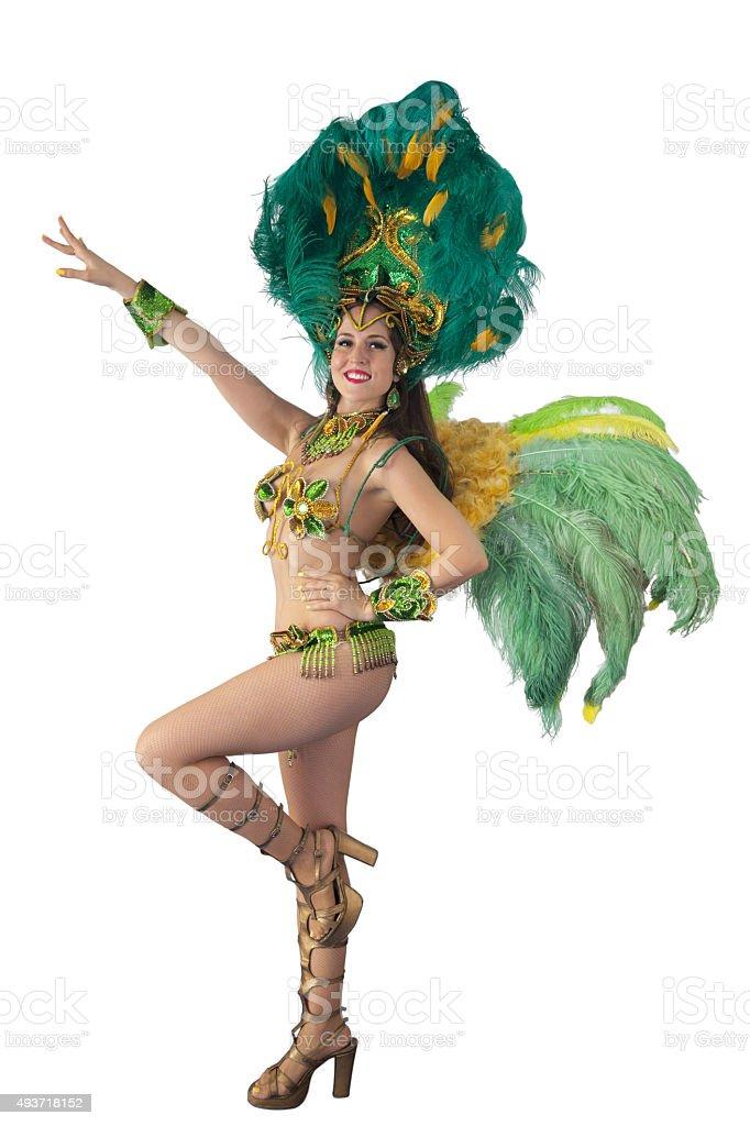 Samba dancer posing and looking at camera. stock photo