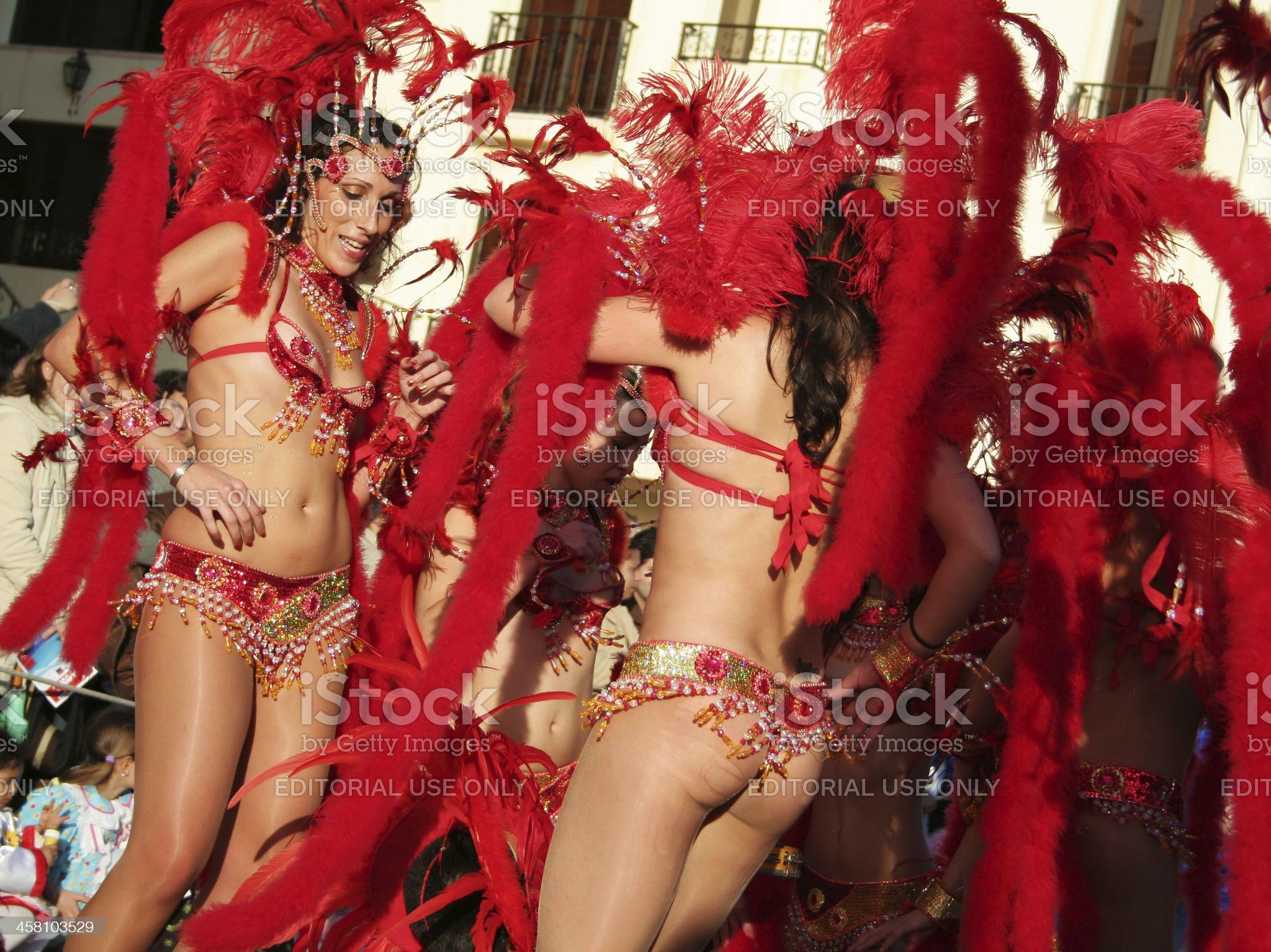 Samba Dancers in the brazilian carnival royalty-free stock photo