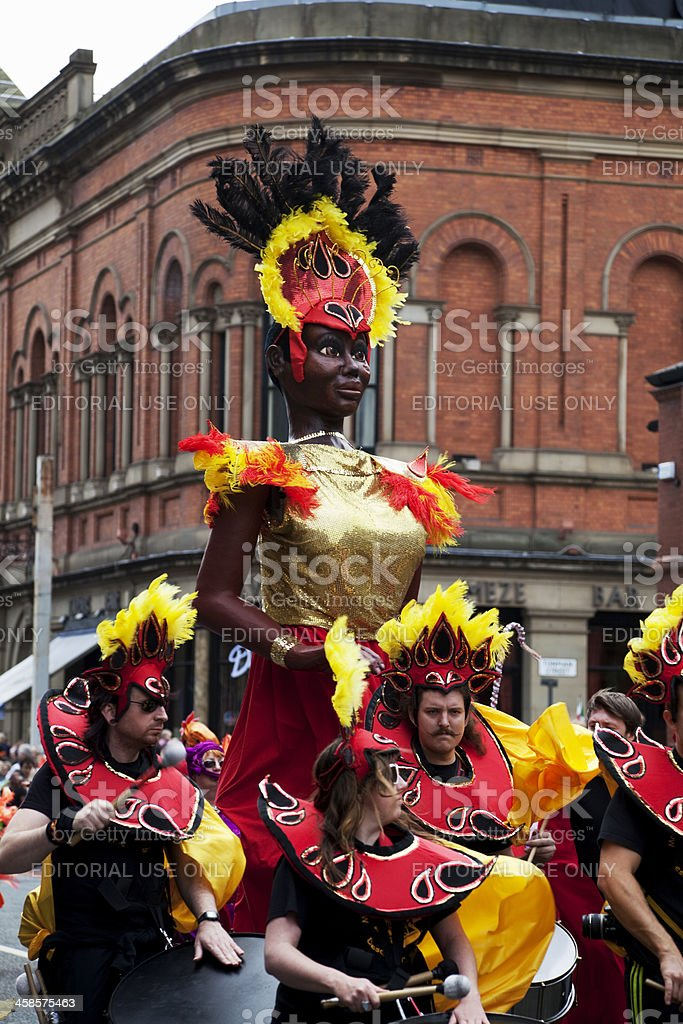 Samba drummers and carnival dancer figure stock photo