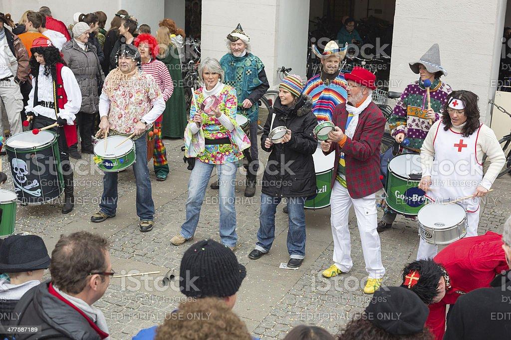 Samba drummers at Mardi Gras, Munich royalty-free stock photo