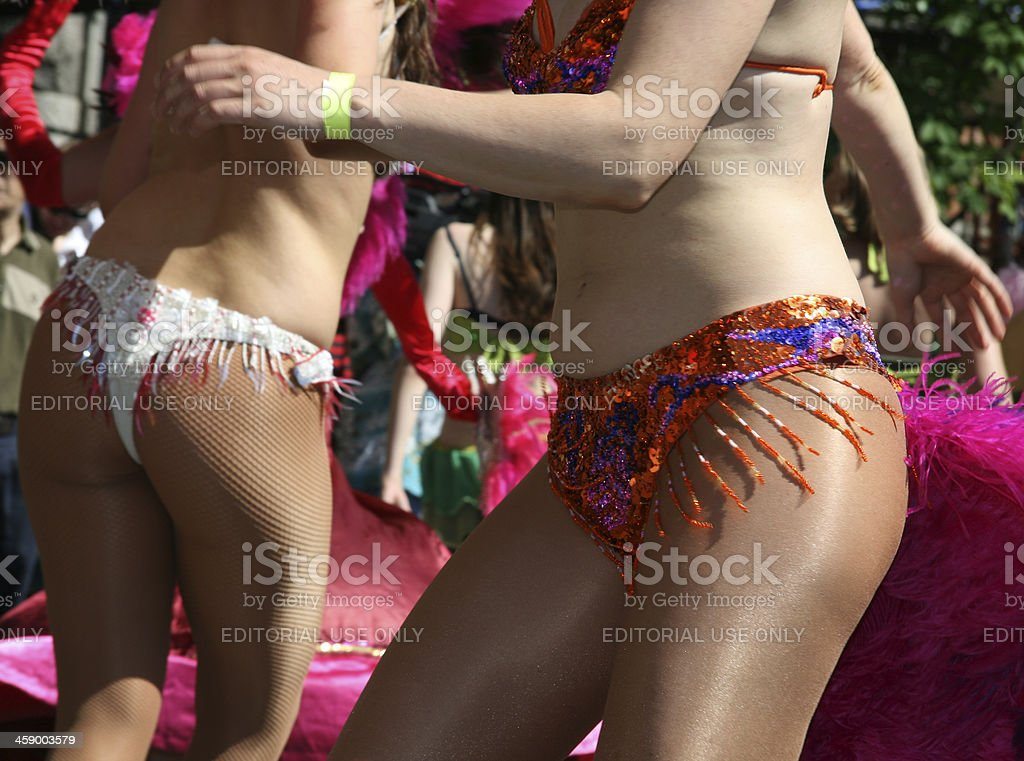 Samba girls with colorful decorated costumes in Copenhagen, Denmark royalty-free stock photo