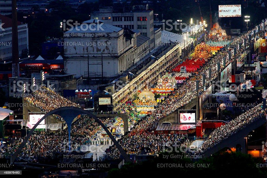 Samba School presentation in Sambodrome in Rio de Janeiro carniv stock photo