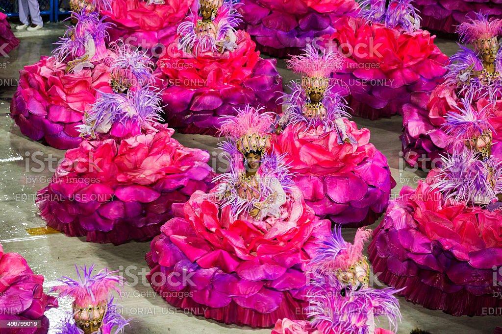 Samba School presentation in Sambodrome in Rio de Janeiro carnival stock photo