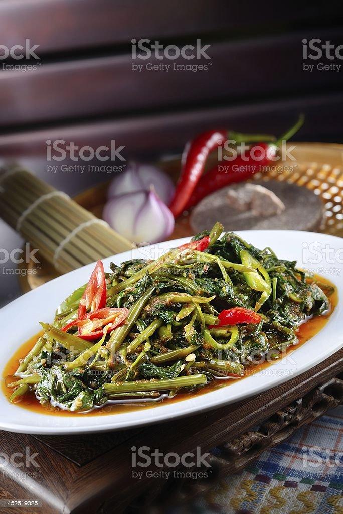 Sambal Kangkong stock photo