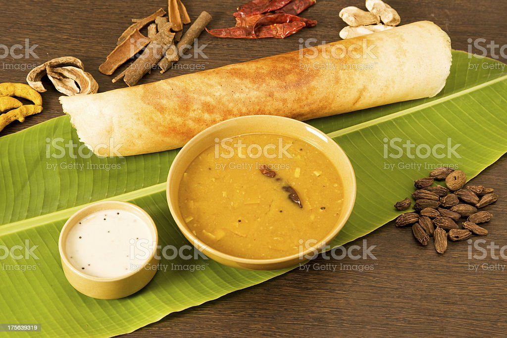 Sambar Dosa with Ingredients stock photo
