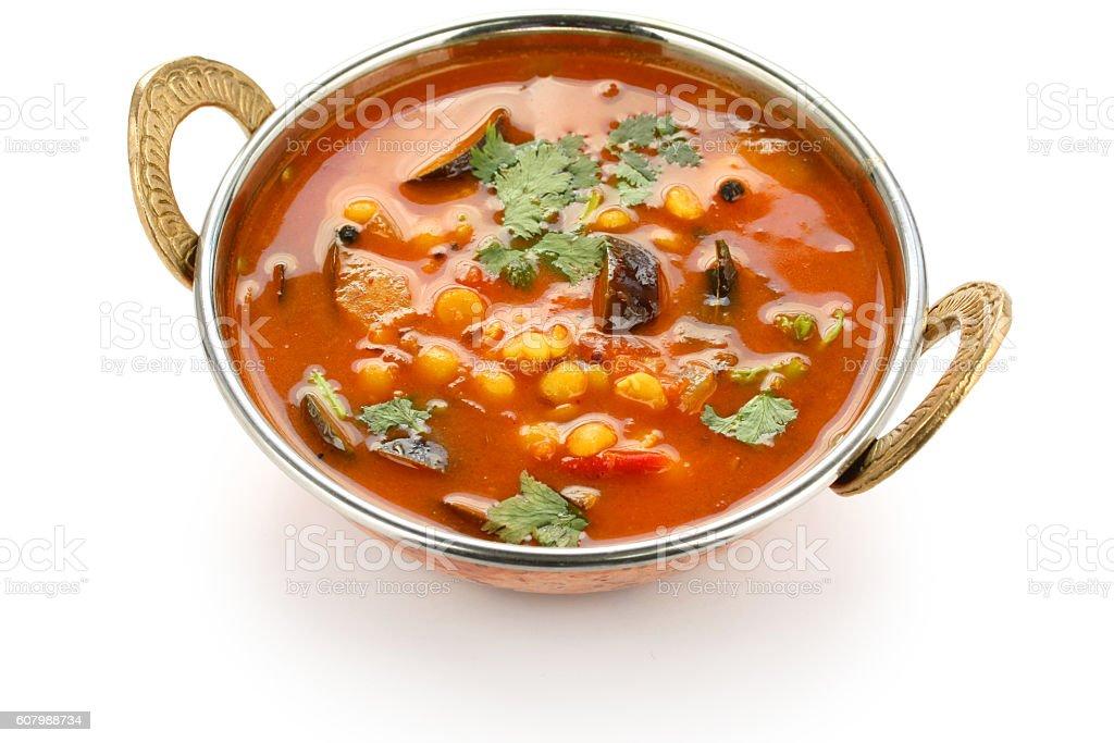 sambar, south indian cuisine on white background stock photo
