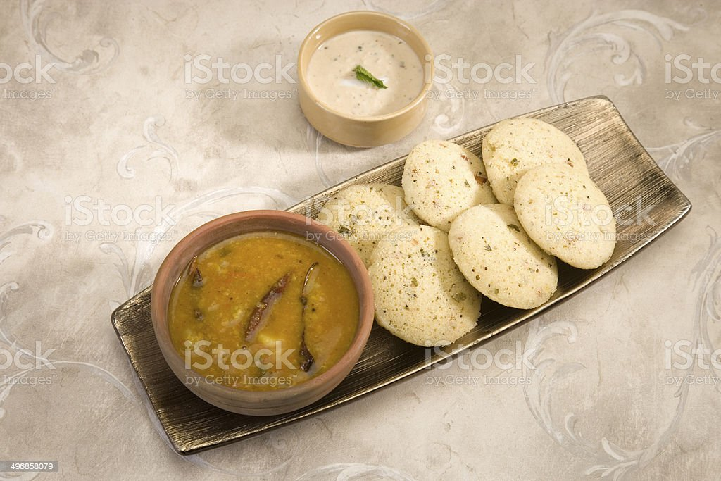 Sambar with Idli with Coconut Chutney stock photo