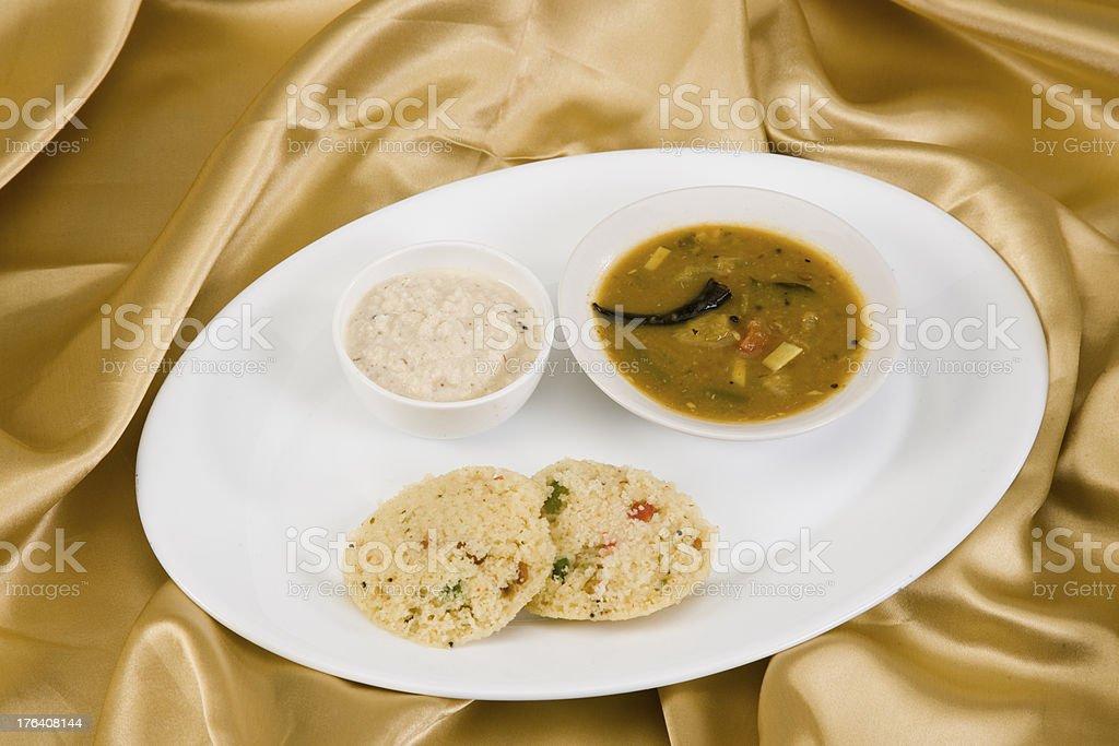 Sambar with Vegetable Idli stock photo