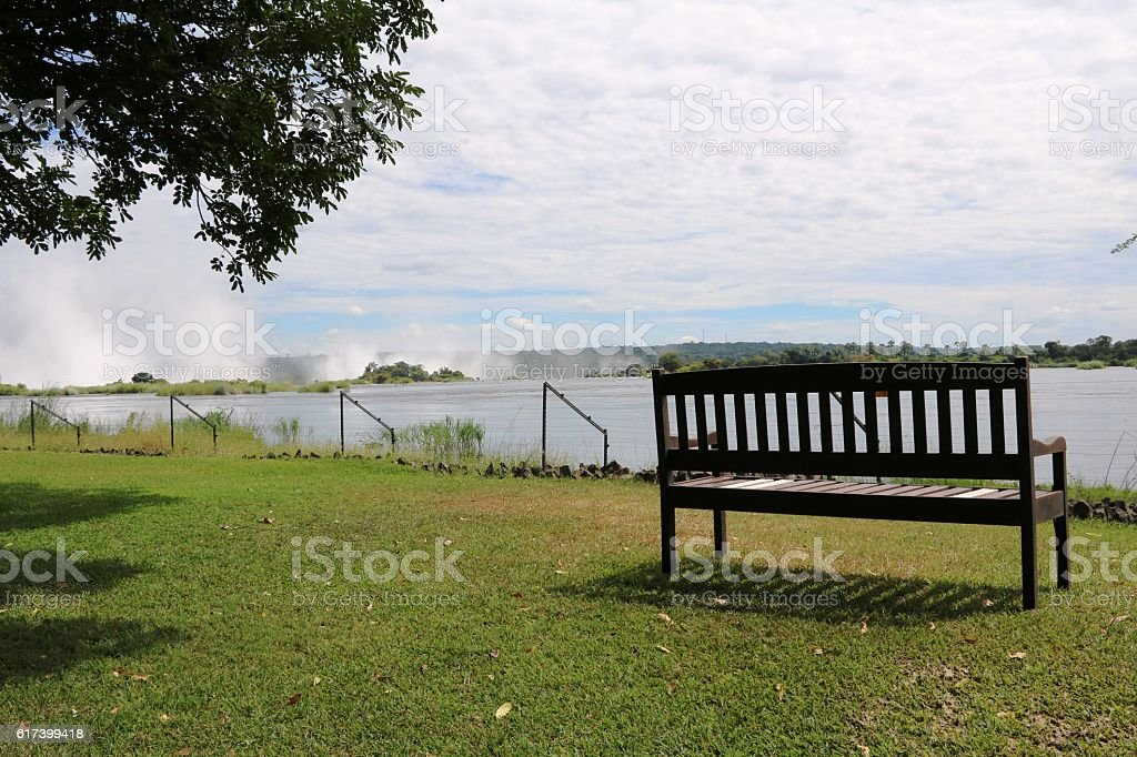 Sambesi River with view to Victoria Falls, Zambia Africa stock photo