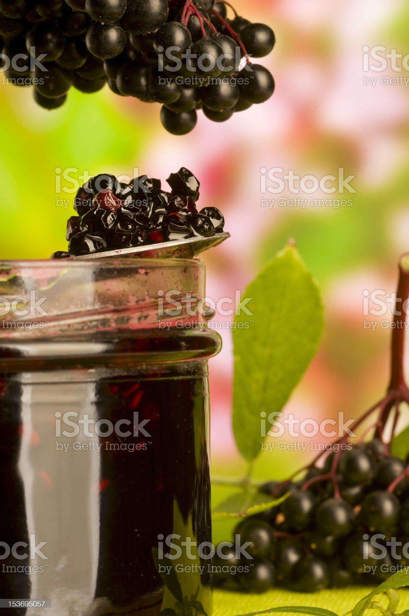 Sambucus nigra jam royalty-free stock photo