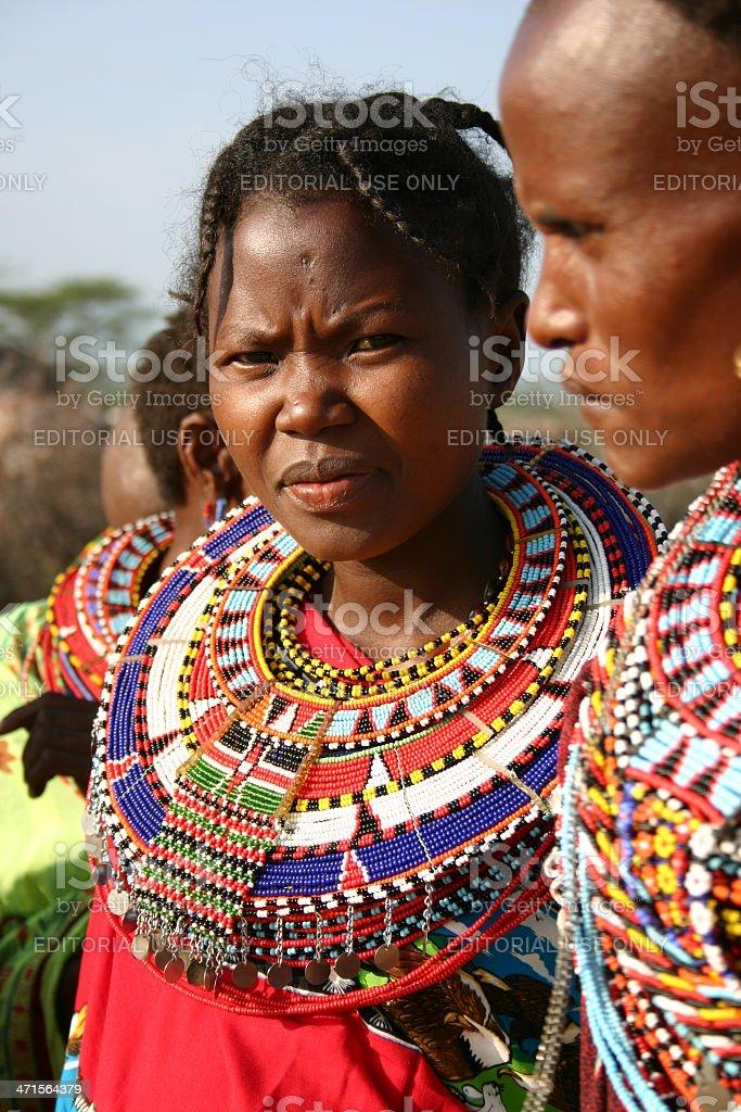 Samburu Girl wearing traditional jewelry with sead beads, Kenya stock photo