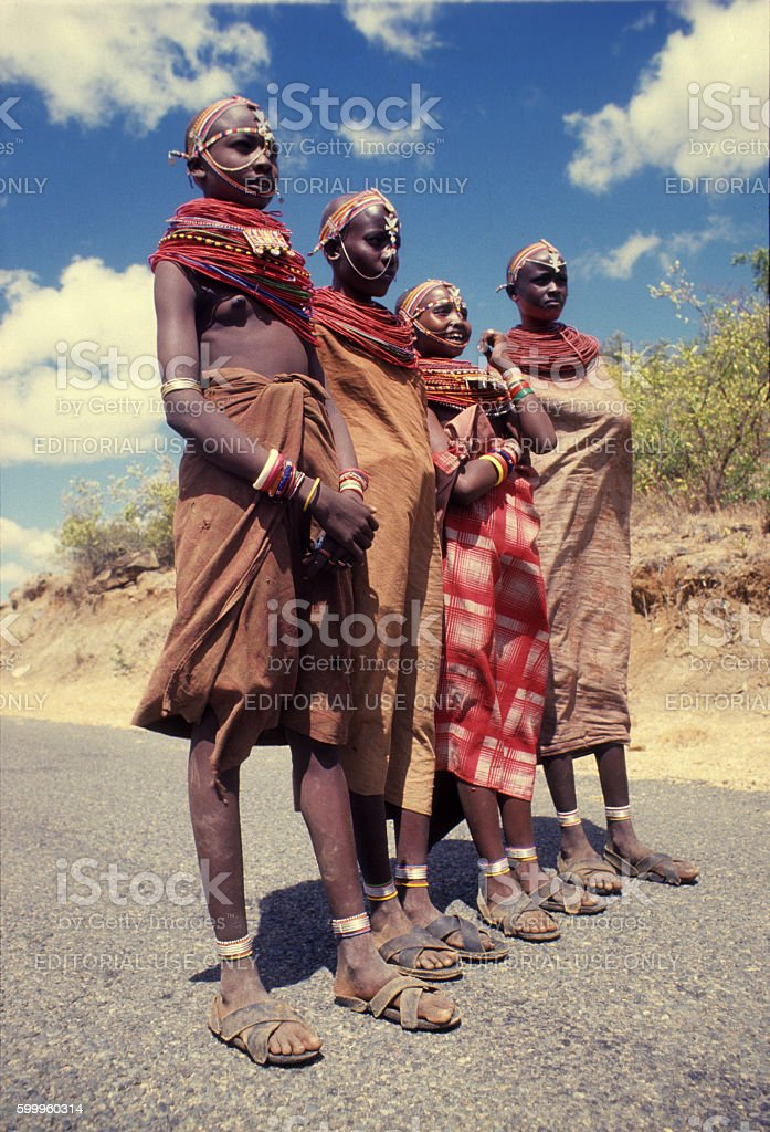 Samburu girls on the road near Lake Baringo, Kenya stock photo