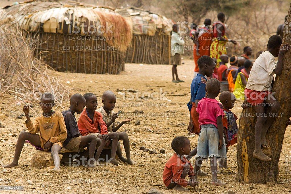 Samburu manyatta near Archers Post, Samburu National Park, Kenya stock photo
