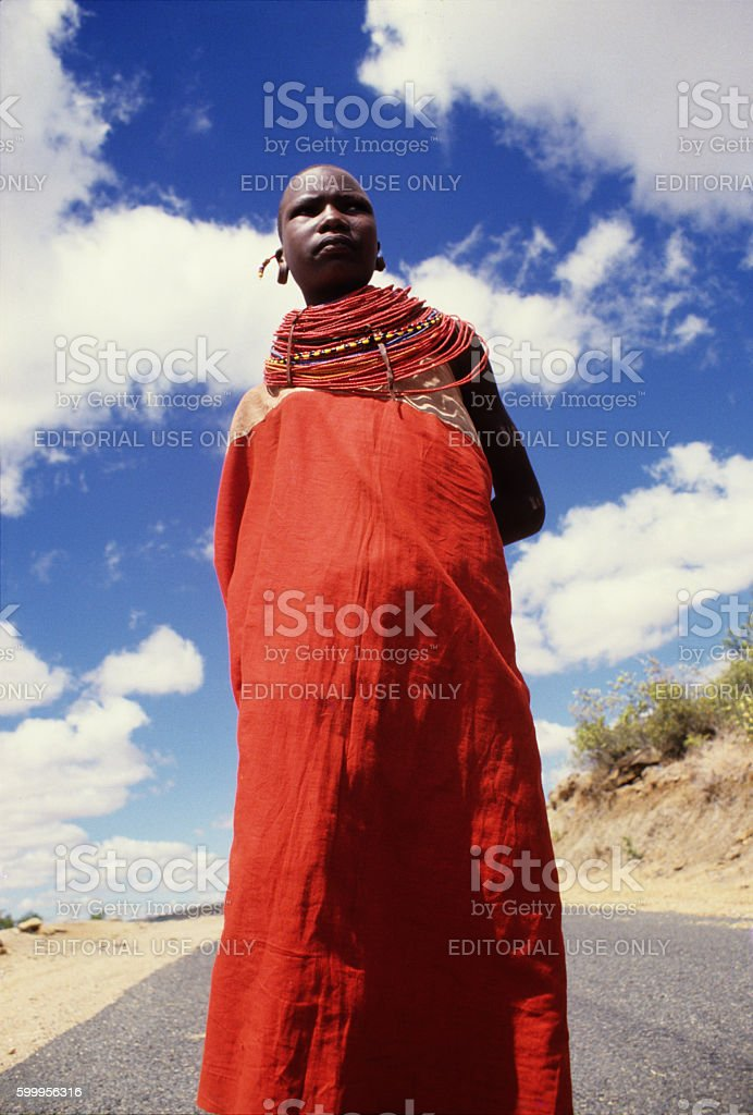 Samburu woman in the road going to Maralal, northern Kenya stock photo