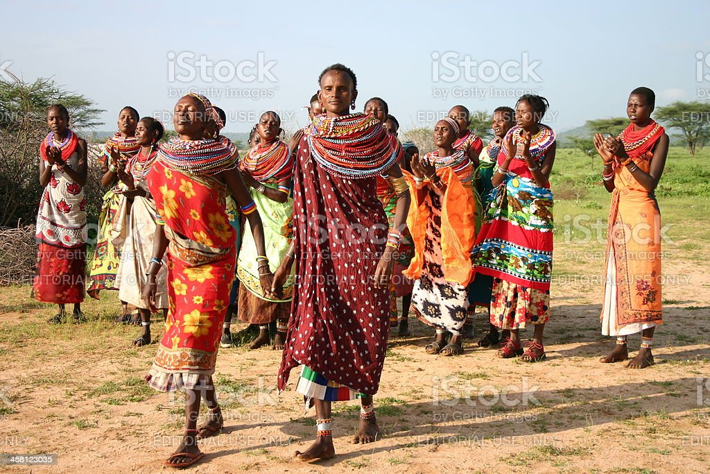 Samburu Women are dancing and singing in Kenya, Africa royalty-free stock photo