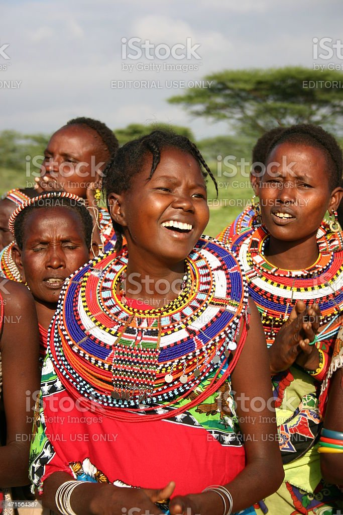 Samburu Women wearing traditional jewelry with sead beads, Kenya stock photo