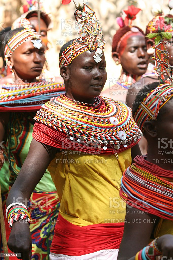 Samburu young women dancing with morani stock photo