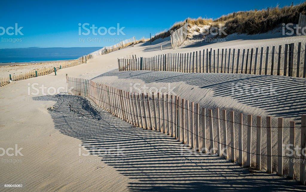 Samd Fence Shadows stock photo