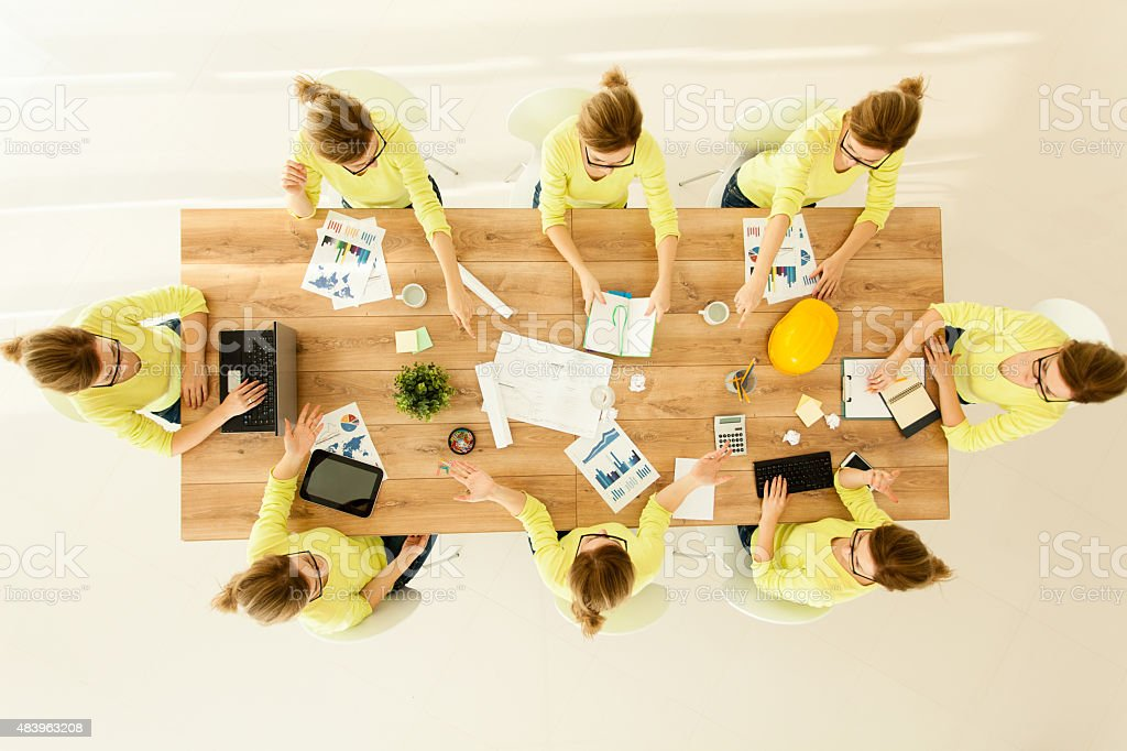 Same businesswoman in various situations stock photo