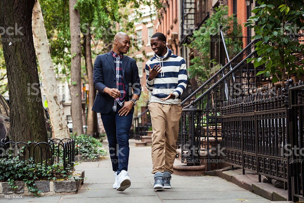 Same sex couple hanging out in Greenwich Village - NY stock photo