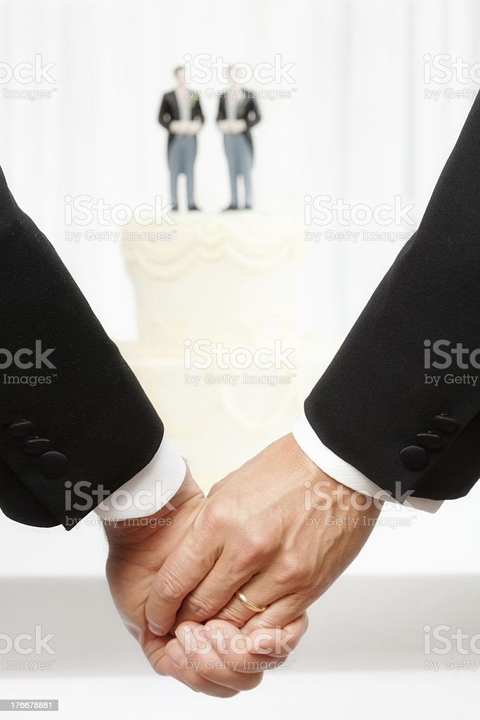 Same Sex Marriage Two Men in Front of Wedding Cake royalty-free stock photo