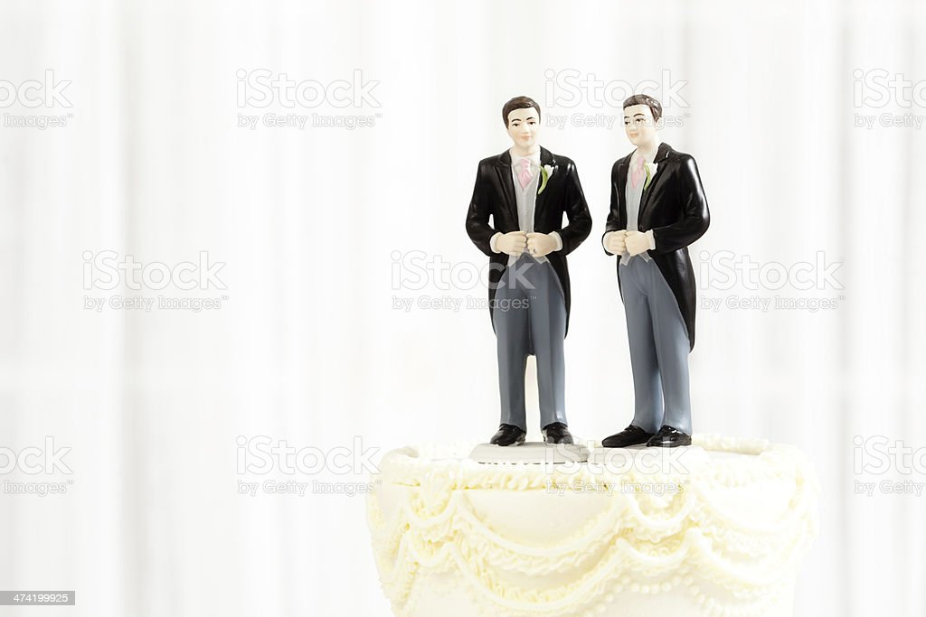 Same Sex Marriage Wedding Cake Figurine Topper Horizontal stock photo