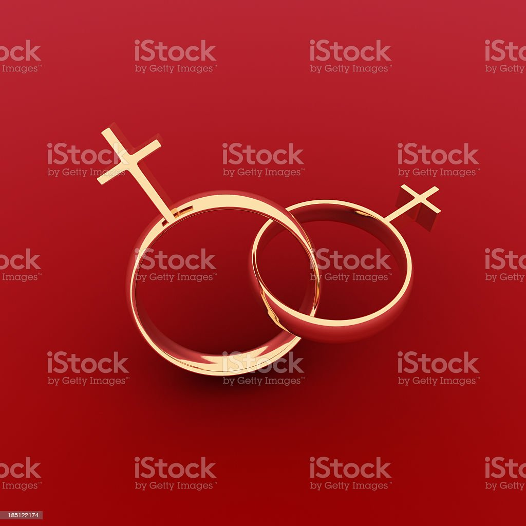 Same-sex (lesbian) marriage rings with red background stock photo