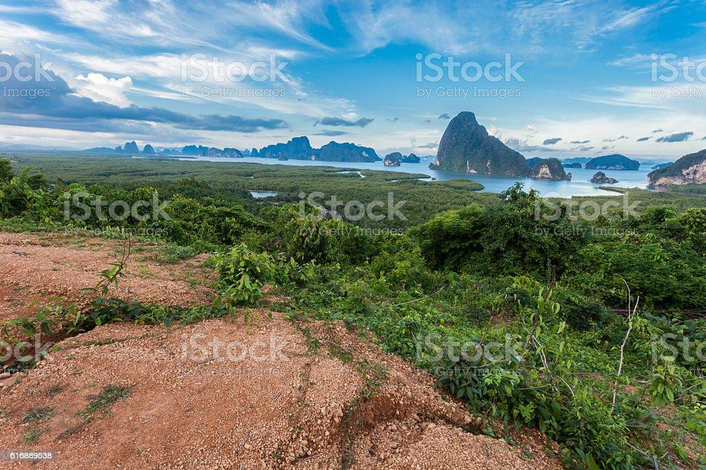 Samet-nang-she beautiful scenery new landmark in Phang nga stock photo