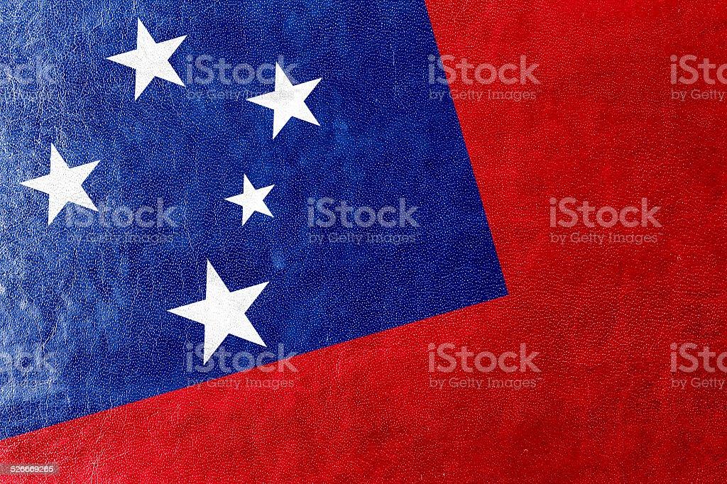 Samoa Flag painted on leather texture stock photo