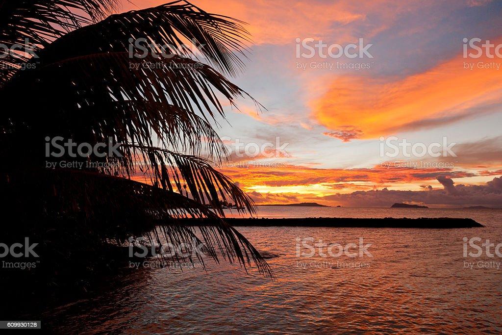 Samoa sunset stock photo