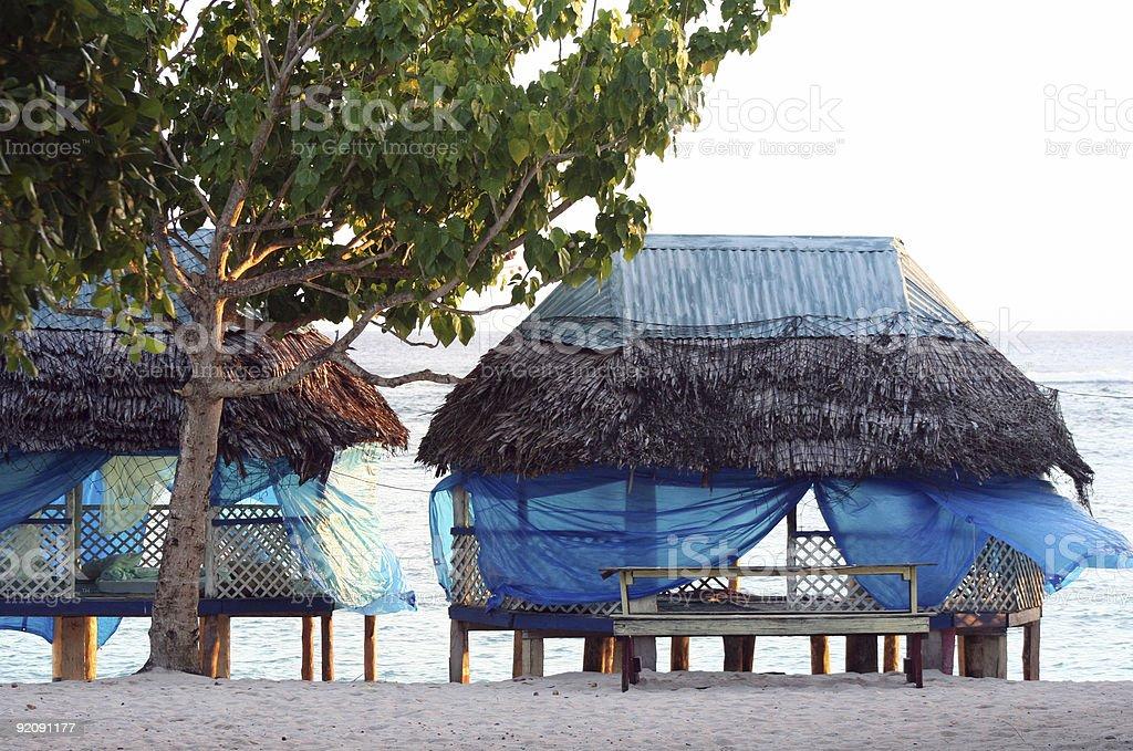 Samoan Beach Fale Resort stock photo
