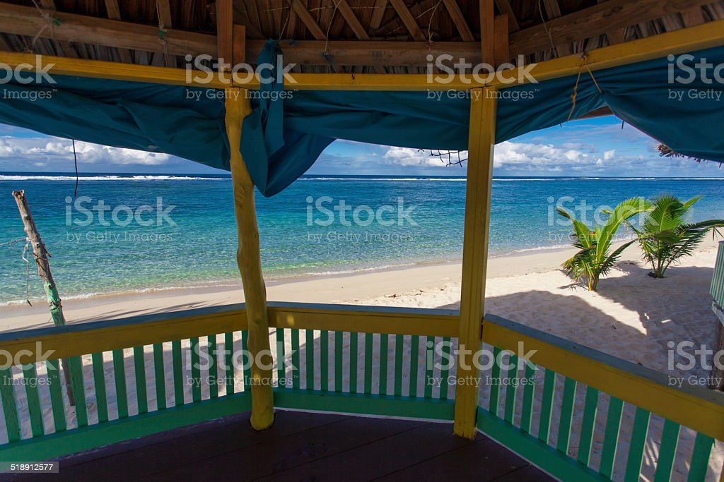 Samoan beach fales stock photo