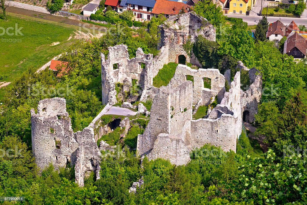 Samobor fortress ruins and landscape aerial view stock photo