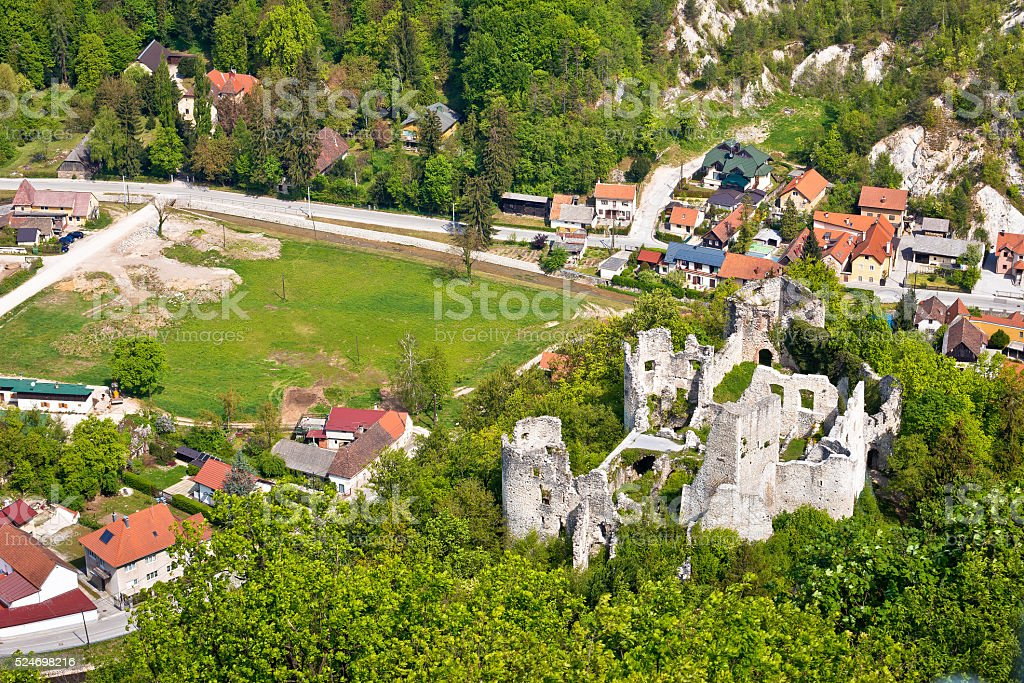 Samobor fortress ruins and landscape stock photo