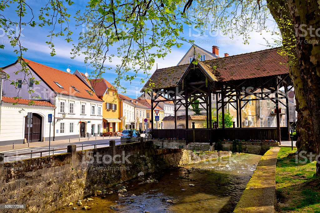 Samobor river and old wooden bridge stock photo
