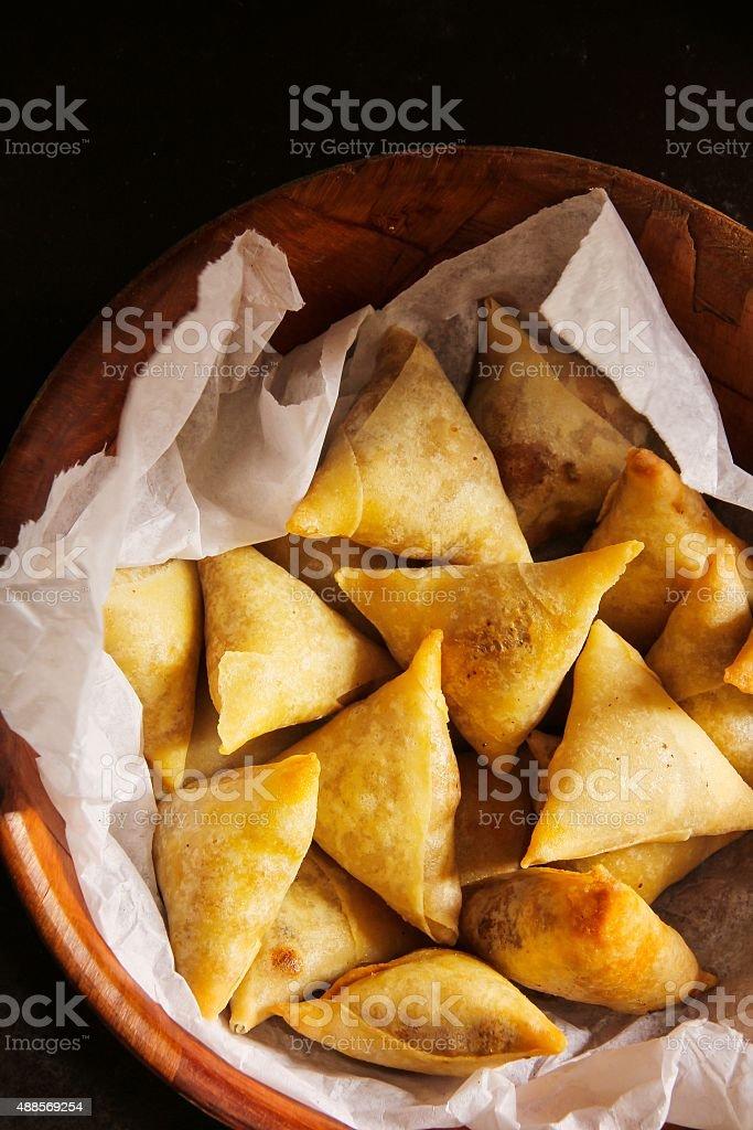 Samosa - Popular Vegetarian snack in indian cuisine stock photo
